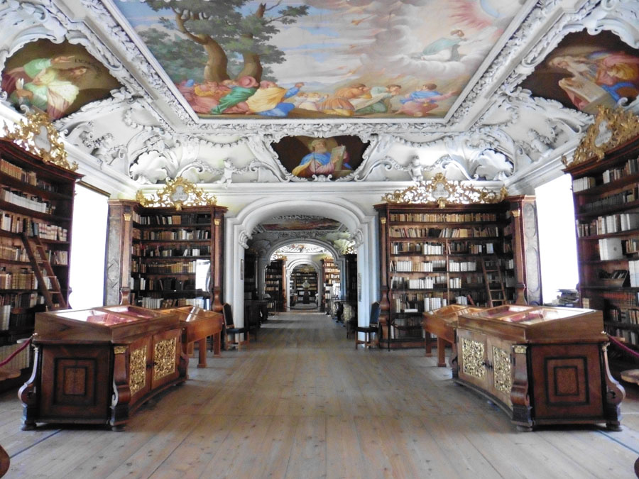 Ornately decorated library inside Kremsmunster Abbey in Austria