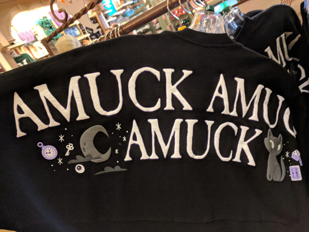 "Special edition Mickey's Not So Scary Halloween Party exclusive shirt that says ""amuck, amuck, amuck"""