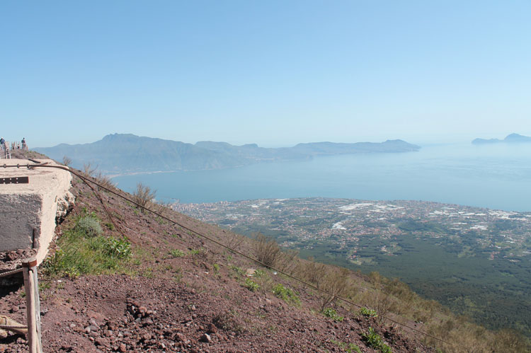 View of the ocean from the top of Mount Vesuvius, one of the top things to do in Italy