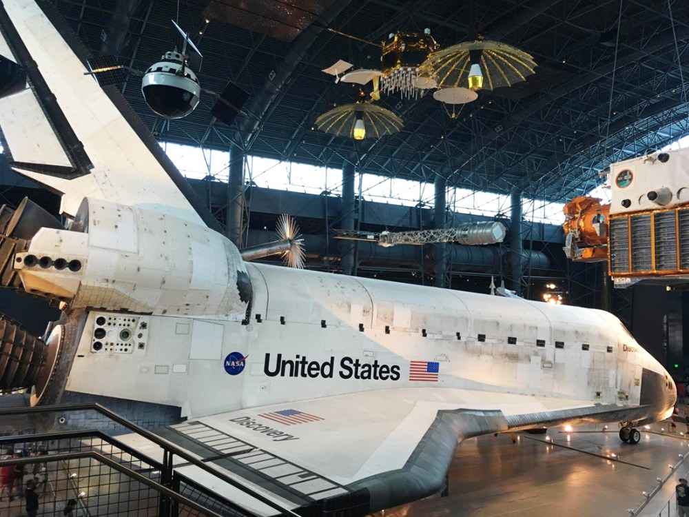 Space shuttle on display at the Smithsonian