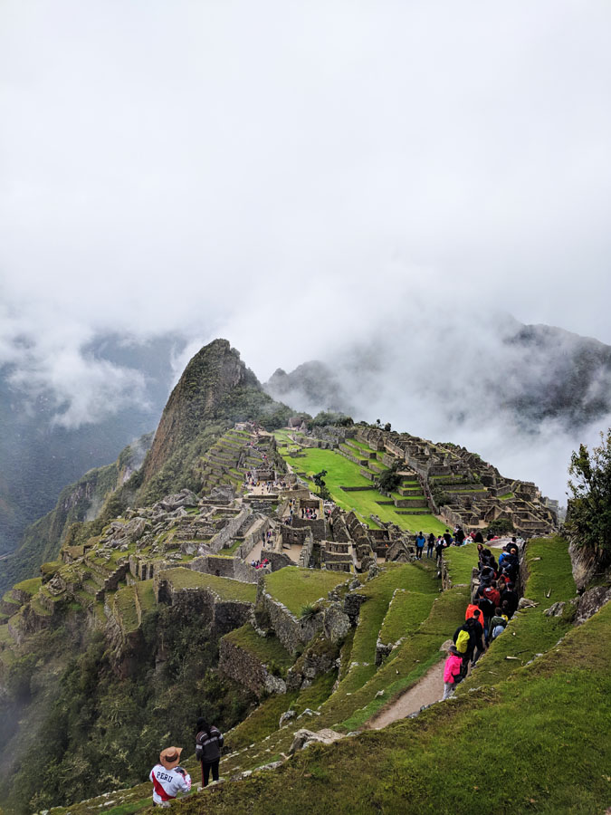 Green terraces with Machu Picchu buildings in the background