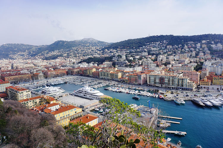 Sunny skies over the French Riviera town of Nice