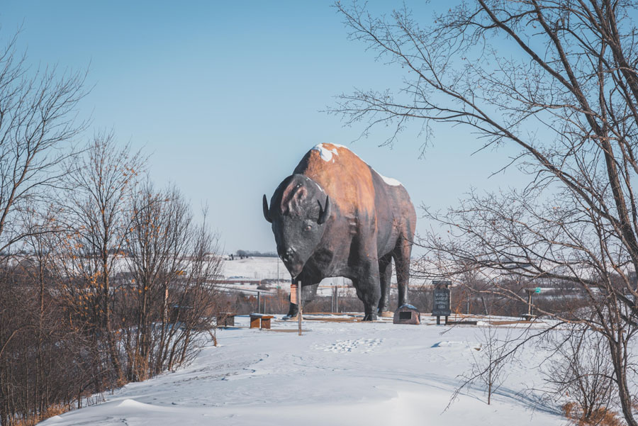 Large statue of a buffalo in a snow-covered field