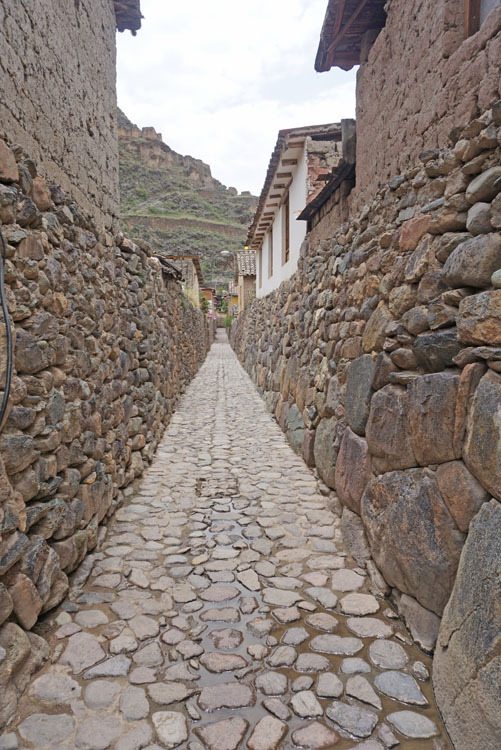 Incan walls in the streets of Ollantaytambo