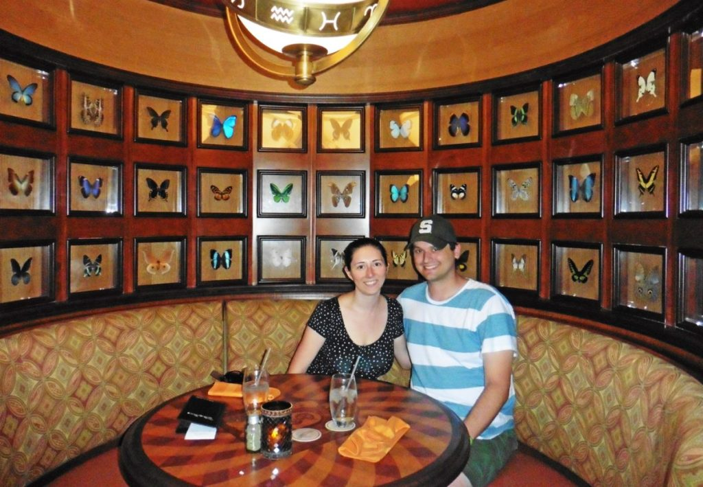 Butterfly table at the Skipper Canteen - save time at Disney World by booking dining reservations using the My Disney Experience app