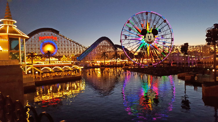 Dusk over Paradise Pier at California Adventure