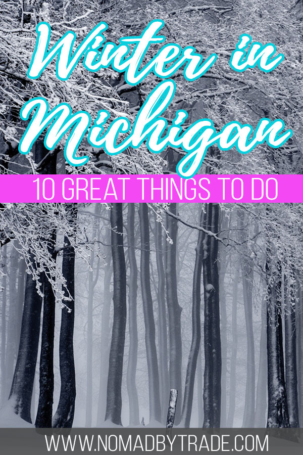 "Snowy forest with text overlay reading ""Winter in Michigan - 10 great things to do"""