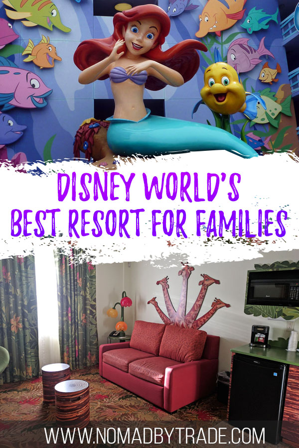 """Photo collage with text overlay reading """"Disney World's best resort for families"""""""