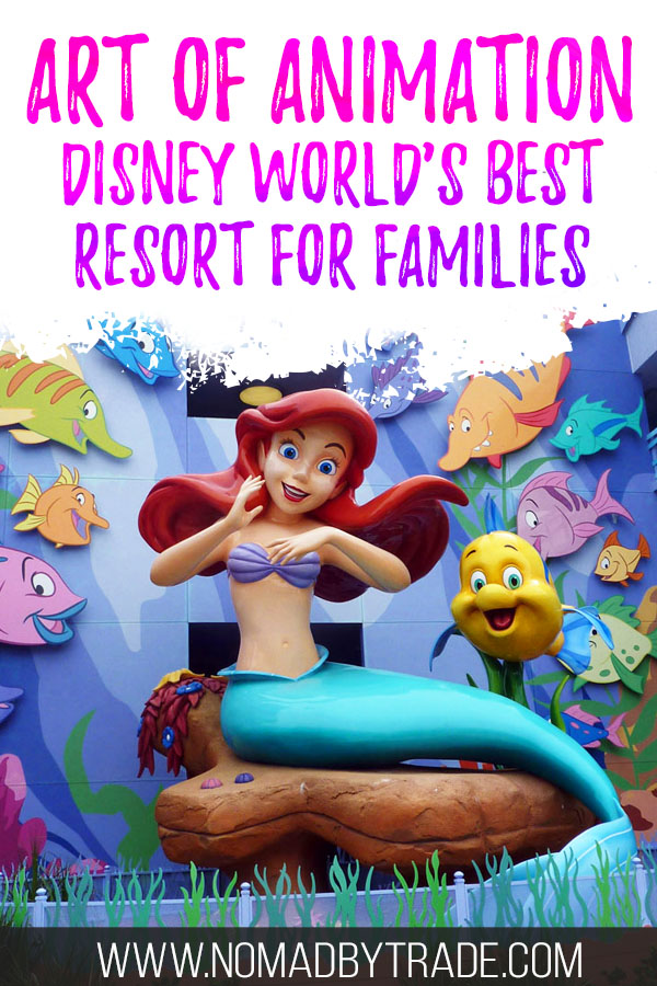 "Ariel statue with text overlay reading ""Art of Animation - Disney World's best resort for families"""