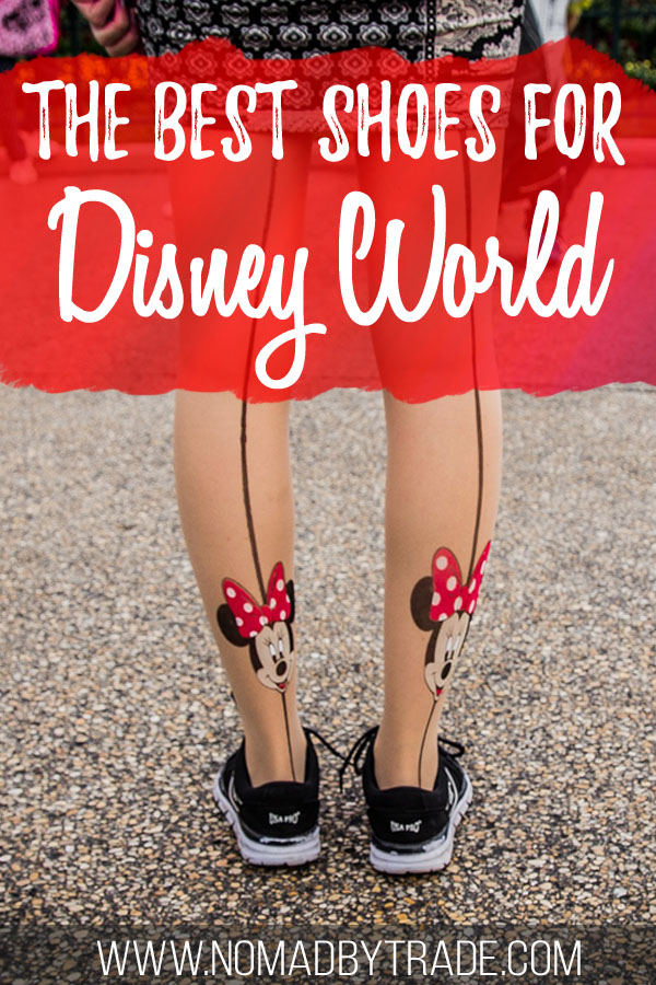 "Woman wearing shoes and Minnie Mouse tights with text overlay reading ""The best shoes for Disney World"""
