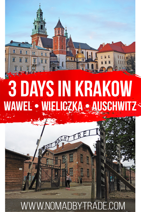 Collage of Wawe Cathedral and Auschwitz gates with text overlay
