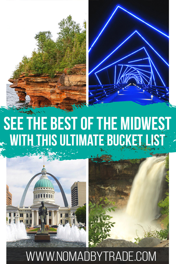 Photo collage including waterfall, Gateway Arch, and other attractions with text overlay