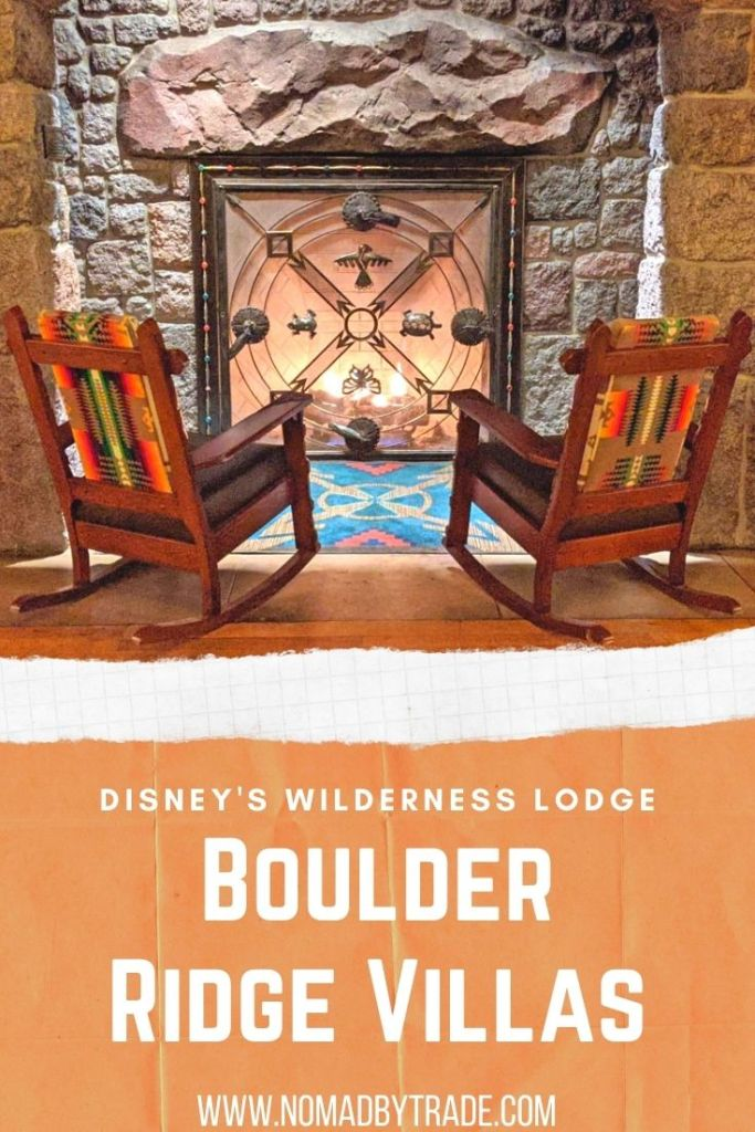 Rocking chairs in front of a fireplace with text overlay reading,