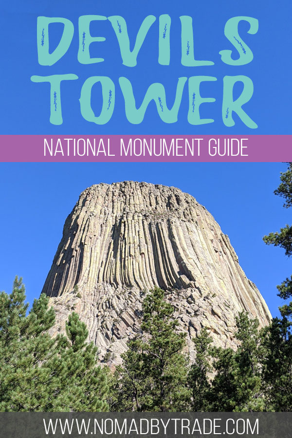 """Photo of Devils Tower with text overlay reading """"Devils Tower National Monument Guide"""""""