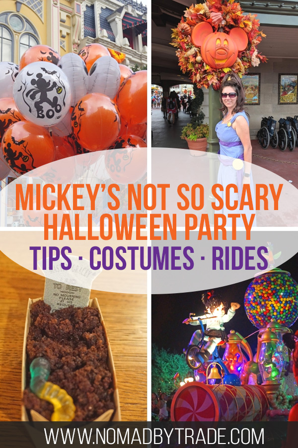 Disney World Halloween party images with text overlay