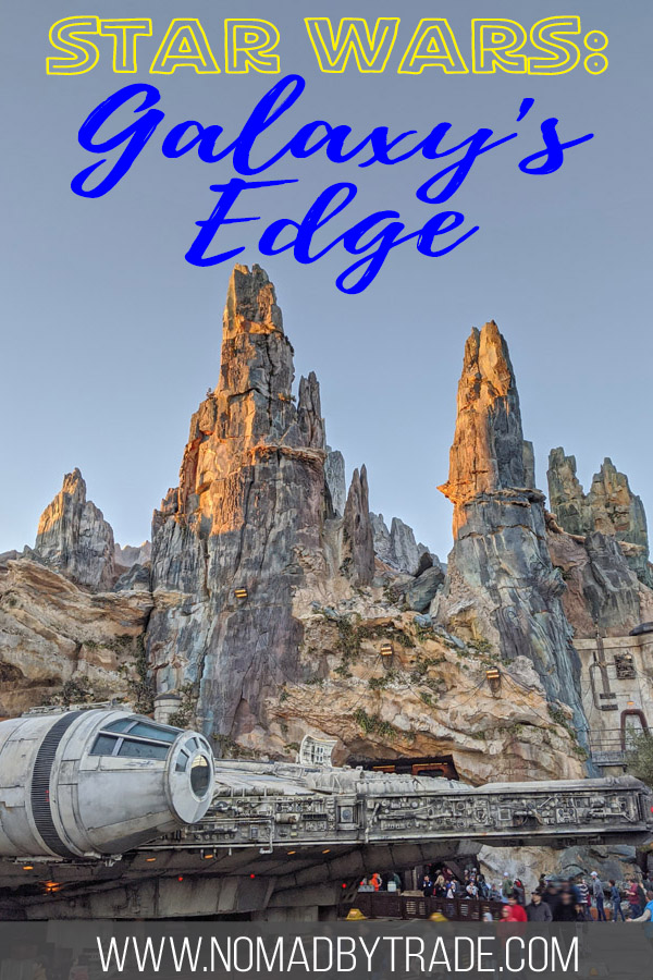 "Photo of the Millennium Falcon with text overlay reading ""Star Wars: Galaxy's Edge"""