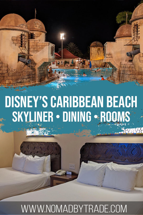 "Photo of a fortress-themed pool and hotel room beds with text overlay reading ""Disney's Caribbean Beach - Skyliner, dining, rooms"""
