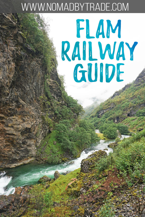 "Valley along the Flamsbana with text overlay reading ""Flam Railway guide"""