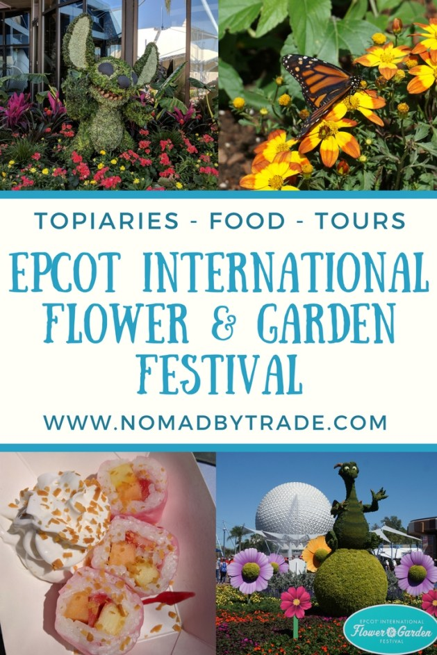 The Epcot Flower and Garden Festival is one of the best things to do at Disney World in the spring. It features Disney topiaries, delicious international food, exclusive World Showcase tours, concerts, butterflies, and more! This post will guide you to everything you need to see and eat at the Disney Flower and Garden Festival. #DisneyWorld | #Epcot | #FlowerAndGardenFestival | Springtime at Disney | Epcot festivals | Garden Rocks concerts