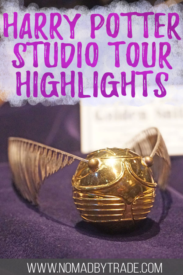 """Golden snitch with text overlay reading """"Harry Potter studio tour highlights"""""""