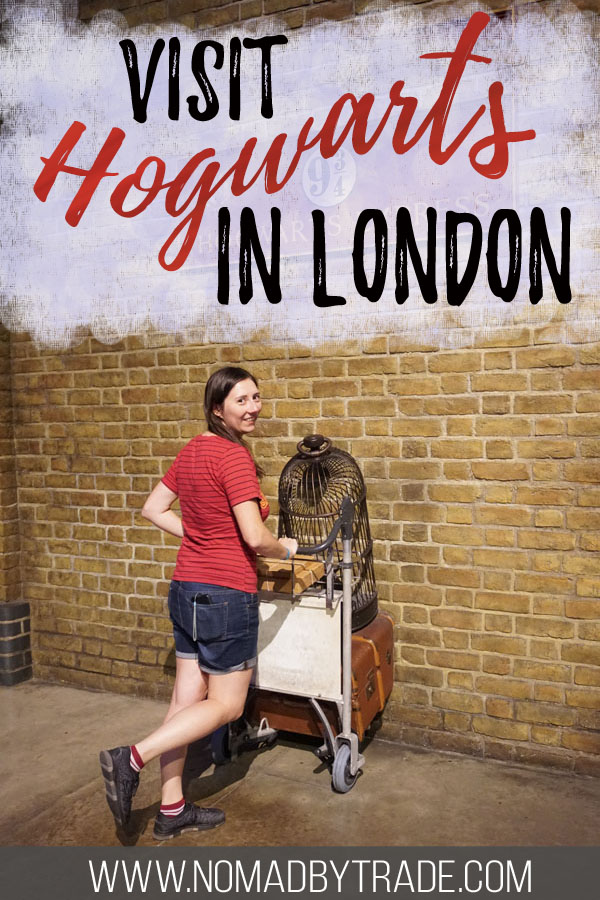 "Photo of a woman at Platform 9 3/4 with text overlay reading ""Visit Hogwarts in London"""