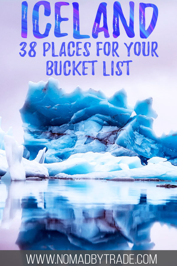 "Photo of icebergs with text overlay reading ""Iceland - 38 places for your bucket list"""