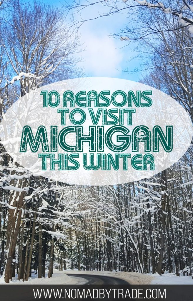 "Snowy, tree-lined road with text overlay reading ""10 reasons to visit Michigan this winter"""