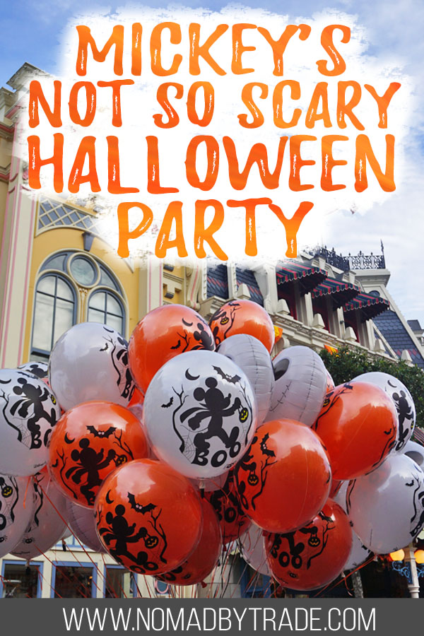 "Halloween Mickey balloons with text overlay reading ""Mickey's Not so Scary Halloween Party"""