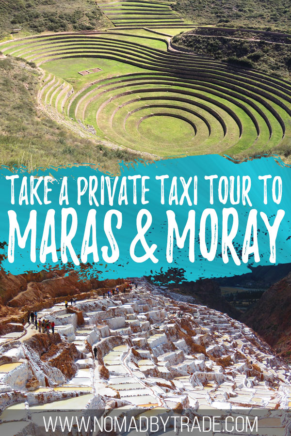 "Photo collage of Moray and Maras with text overlay reading ""Take a private taxi tour to Maras & Moray"""