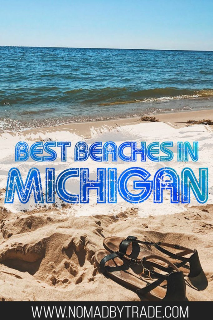 "Sandals on a beach on Lake Michigan with text overlay reading ""Best Beaches in MIchigan"""