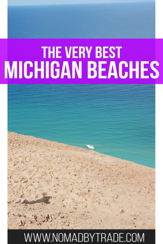 "Sand dune and beach in Sleeping Bear Dunes National Lakeshore with text overlay reading ""The very best Michigan beaches"""