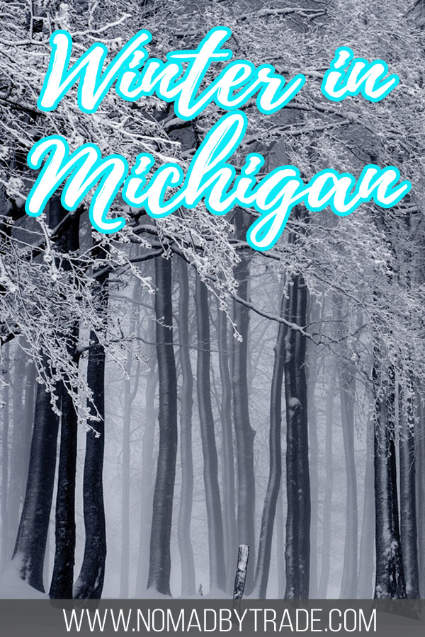 "Snowy forest with text overlay reading ""Winter in Michigan"""