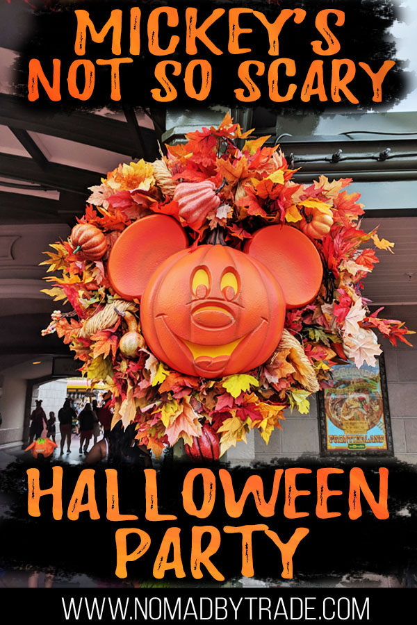 "Mickey Halloween wreath with text overlay reading ""Mickey's Not so Scary Halloween Party"""