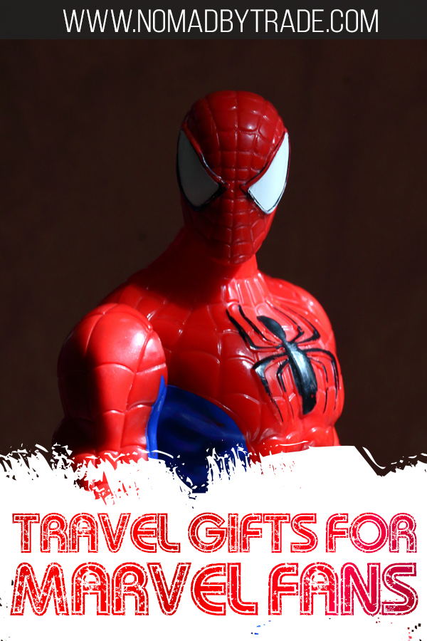 "Photo of Spiderman action figure with text overlay reading ""Travel gifts for Marvel fans"""