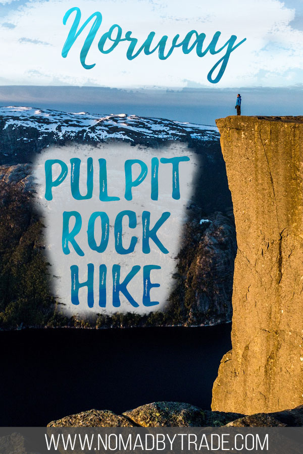 "Person standing on Norway's Pulpit Rock with text overlay reading ""Norway Pulpit Rock hike"""