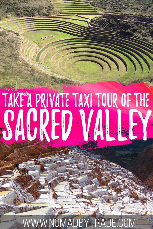 "Photo collage of Moray and Maras with text overlay reading ""Take a private taxi tour of the Sacred Valley"""