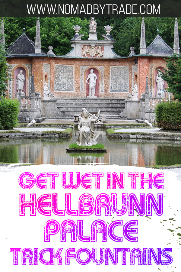 Photo of Hellbrunn Palace trick fountain with text overlay