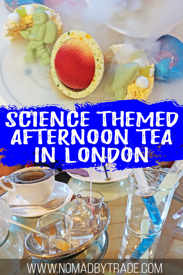 "Photo collage featuring desserts and lemonade with text overlay reading ""Science themed afternoon tea in London"""
