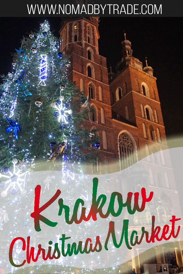 "St. Mary's Basilica with text overlay reading ""Krakow Christmas Market"""