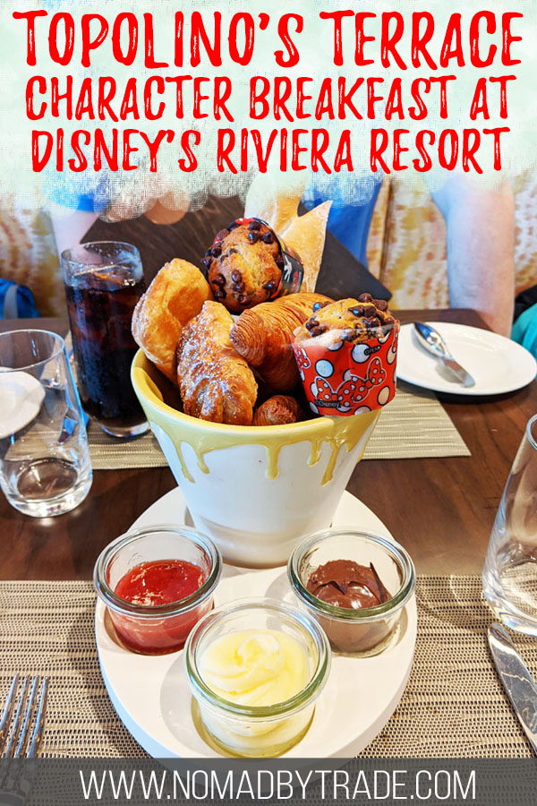 """Art-themed pastries at Topolino's Terrace with text overlay reading """"Topolino's Terrace - character breakfast at Disney's Riviera Resort"""""""