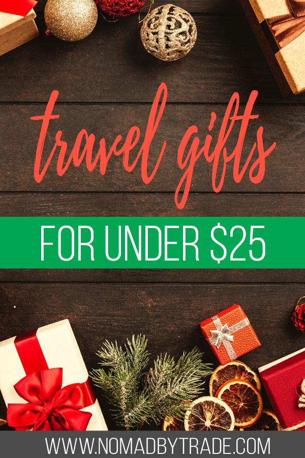 """Christmas presents and decor with text overlay reading """"travel gifts for under $25"""""""