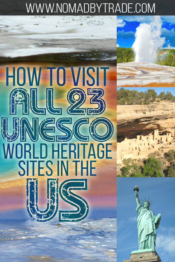 Collage including Old Faithful, Mesa Verde dwellings, and the Statue of Liberty with text overlay