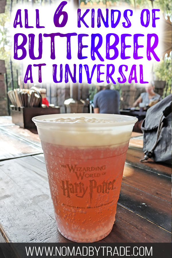 "Cup of cold butterbeer with text overlay reading ""All 6 kinds of butterbeer at Universal"""