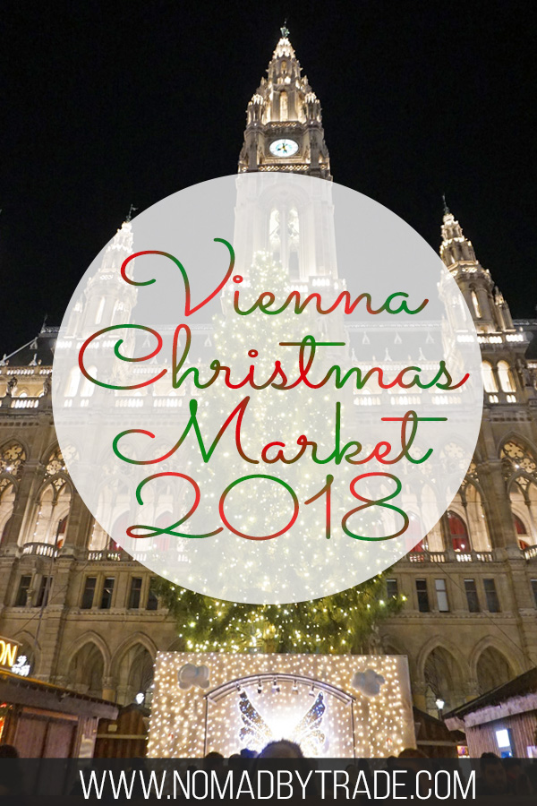 Vienna Rathaus with light up Christmas tree with text overlay