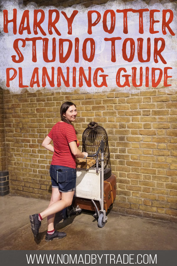 """Photo of a woman at Platform 9 3/4 with text overlay reading """"Harry Potter Studio Tour Planning Guide"""""""