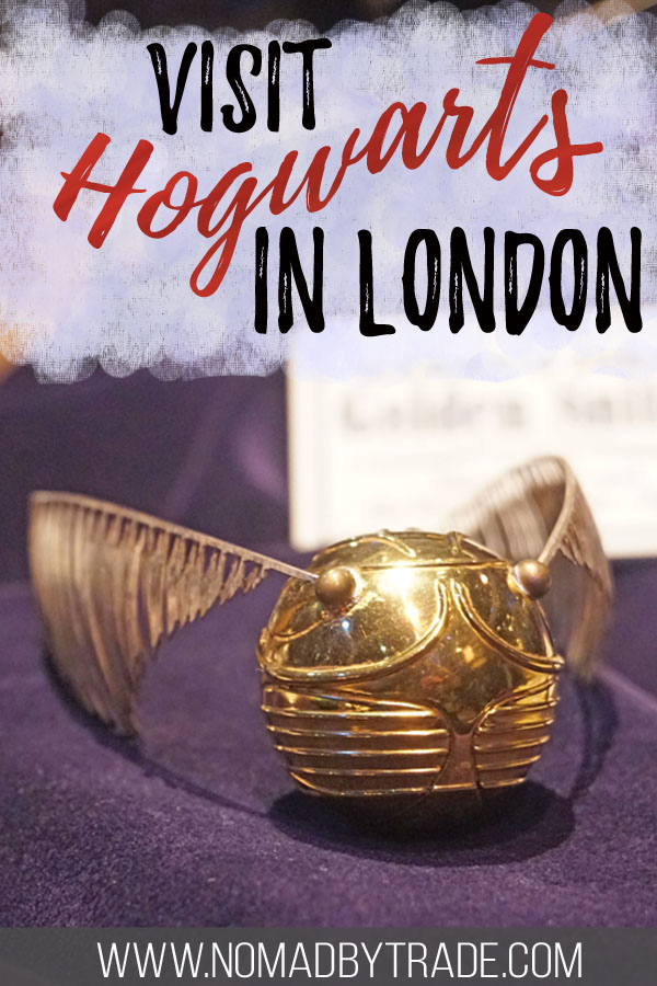 "Golden snitch with text overlay reading ""visit Hogwarts in London"""
