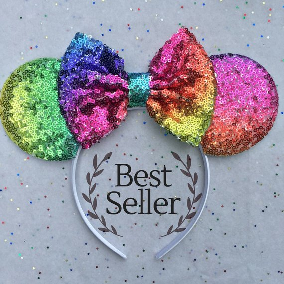 Rainbow sequined Minnie Mouse ears make unique Disney gifts
