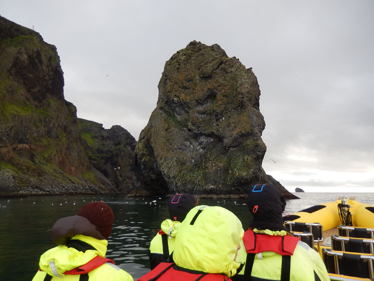 Passengers on a RIB boat tour in Iceland's Westman Islands