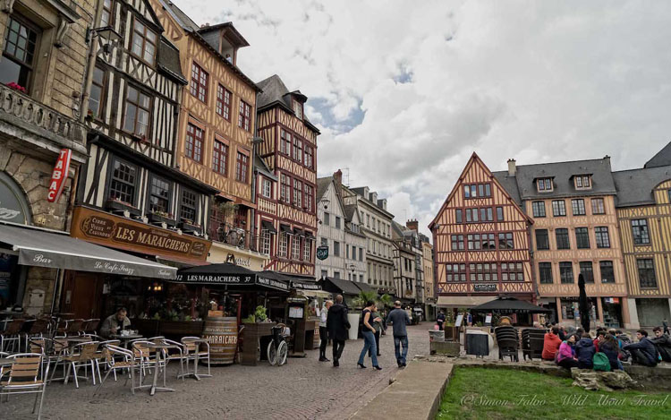 Historic buildings in the old town of Rouen, France