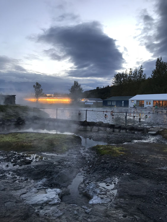 Hot springs at the Secret Lagoon in Iceland